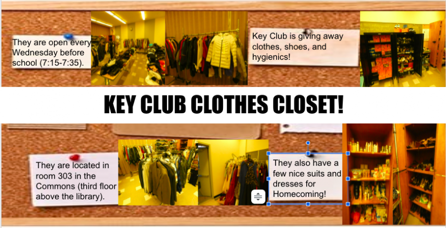 RHS has a clothes closet sponsored by Key Club. The Closet is staffed by club members and overseen by the club advisor, Mrs. Jackson. Stop by and check it out!
