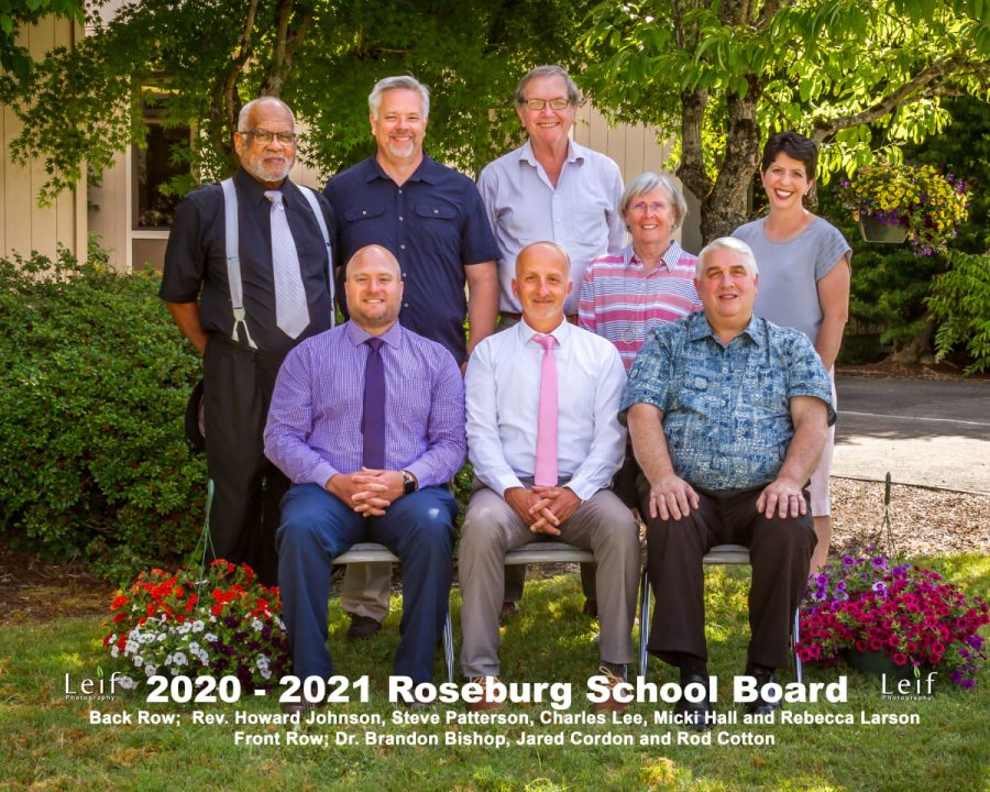 The 2020-2021 School Board members. Director Steve Patterson resigned from the board prior to the mascot vote. Of the remaining members, all voted on April 28 to change the mascot except for Director Charles Lee.