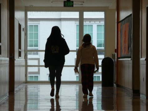 Tenth grader Chloe Pyles walking to class with eleventh grader Chyanne Johnson on the second floor of the Main building.